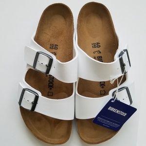 New Birkenstock Arizona White Sandals 40